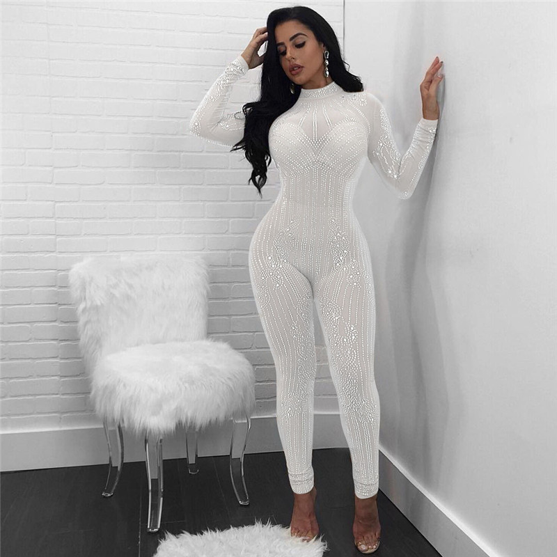 Sexy Bodycon Long Sleeve Sheer Jumpsuits Fashion Mesh Geometric
