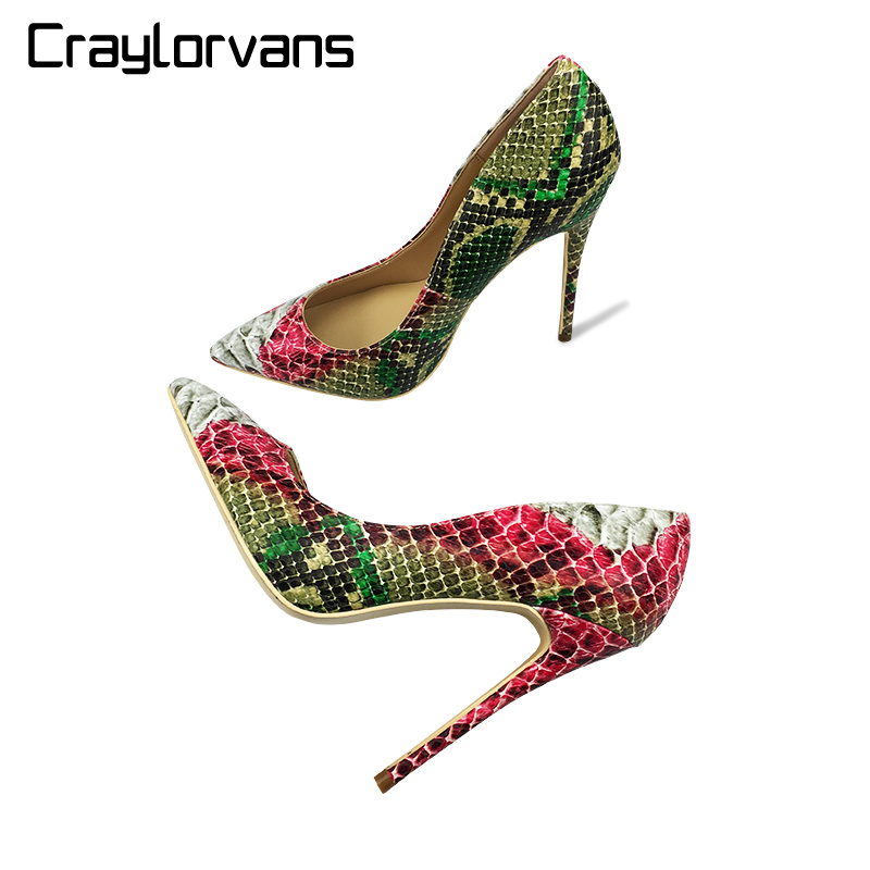 Craylorvans 12cm 10cm 8cm 2018 New Snake Printing Women Shoes Green High Heel Y Pumps Party Wedding Size 43